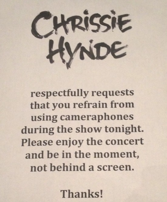 "Chrissie Hynde ""No Phones"" Sign"